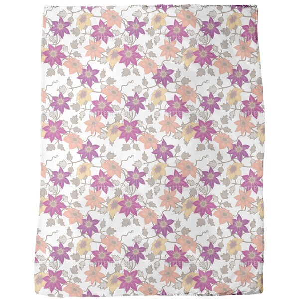 Clematis Dream Garden in White Fleece Blanket