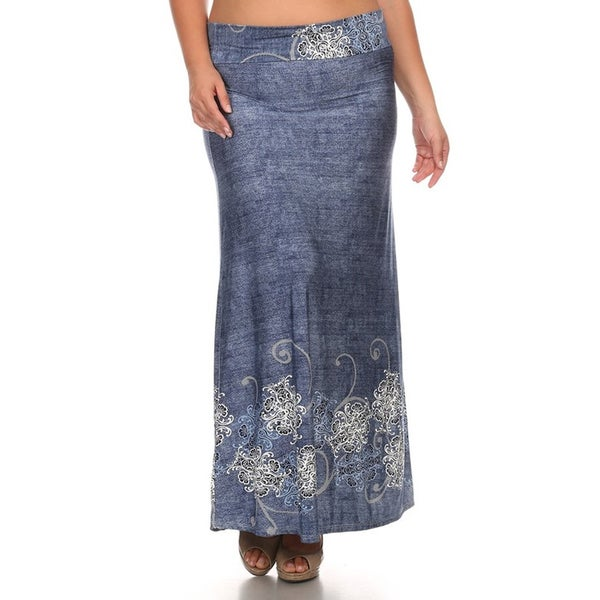 Plus Size Floral Denim Maxi Skirt