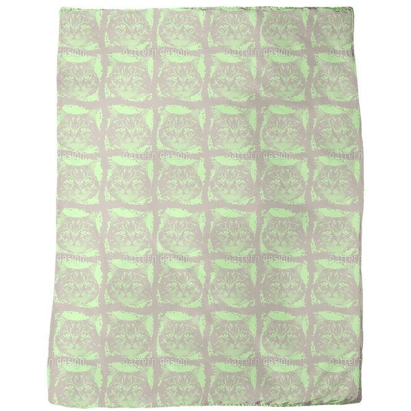 Kitty Minka Green Fleece Blanket