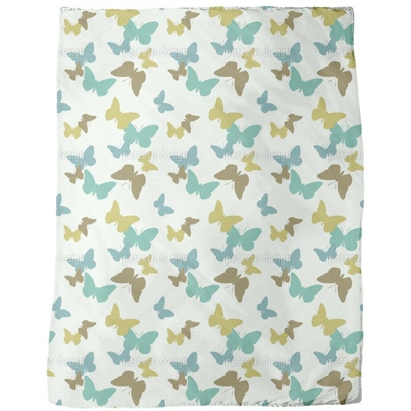 Time of the Butterflies Green Fleece Blanket