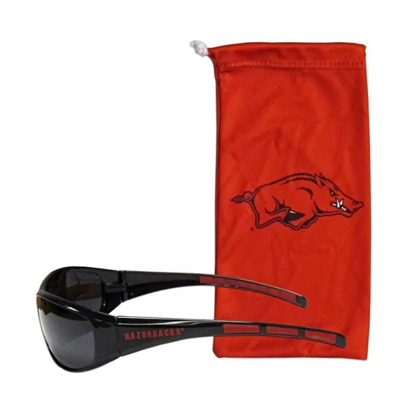 NCAA Arkansas Razorbacks Sports Team Logo Sunglasses and Bag Set