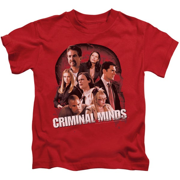 Criminal Minds/Brain Trust Short Sleeve Juvenile Graphic T-Shirt in Red