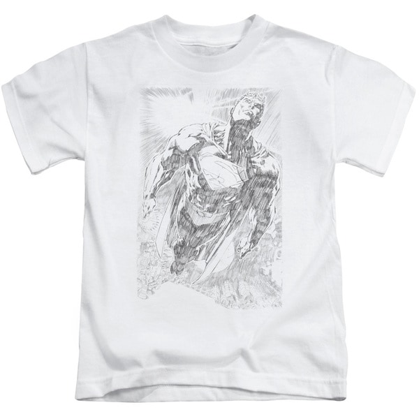 Superman/Exploding Space Sketch Short Sleeve Juvenile Graphic T-Shirt in White
