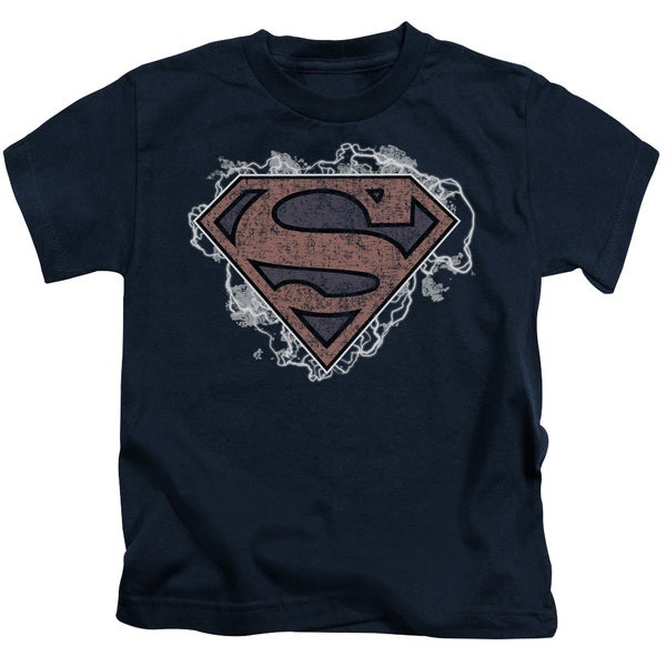 Superman/Storm Cloud Supes Short Sleeve Juvenile Graphic T-Shirt in Navy