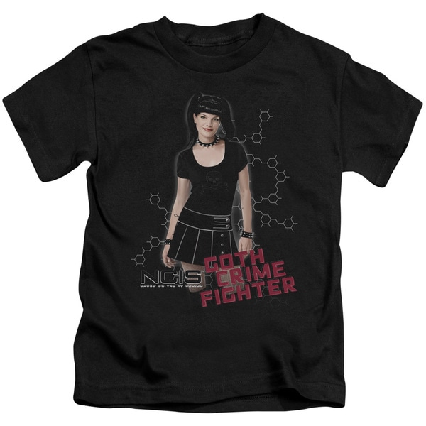 Ncis/Goth Crime Fighter Short Sleeve Juvenile Graphic T-Shirt in Black
