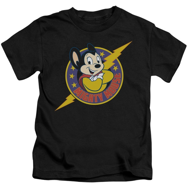 Mighty Mouse/Mighty Hero Short Sleeve Juvenile Graphic T-Shirt in Black