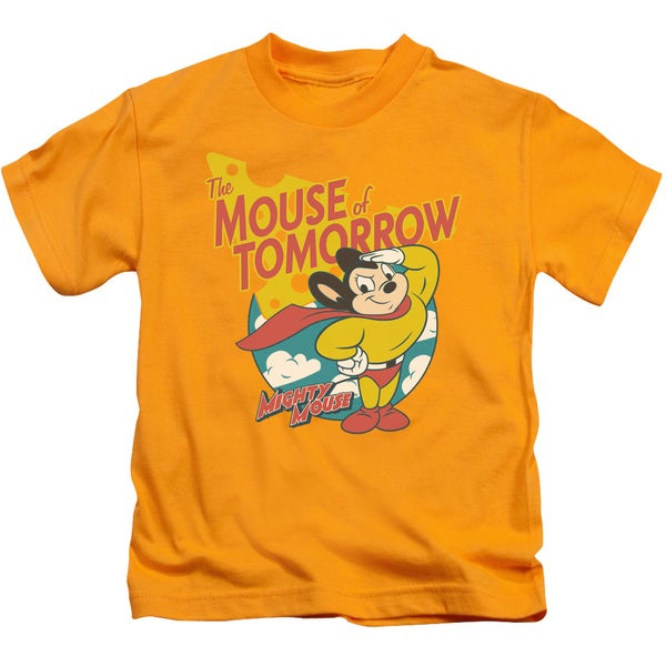 Mighty Mouse/Mouse Of Tomorrow Short Sleeve Juvenile Graphic T-Shirt in Gold