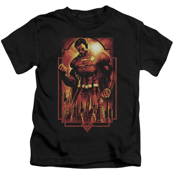 Superman/Metropolis Deco Short Sleeve Juvenile Graphic T-Shirt in Black