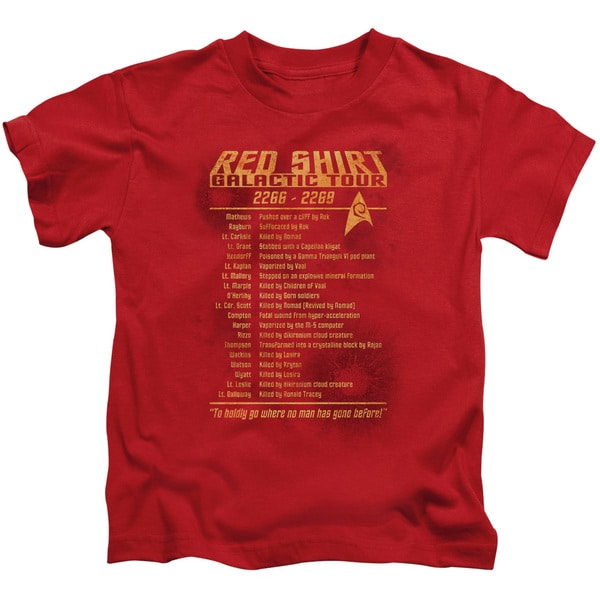 Star Trek/Red Shirt Tour Short Sleeve Juvenile Graphic T-Shirt in Red