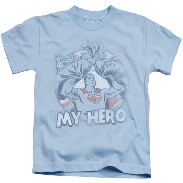Superman/My Hero Short Sleeve Juvenile Graphic T-Shirt in Light Blue