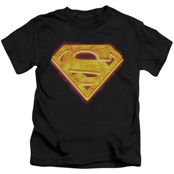 Superman/Hot Steel Shield Short Sleeve Juvenile Graphic T-Shirt in Black
