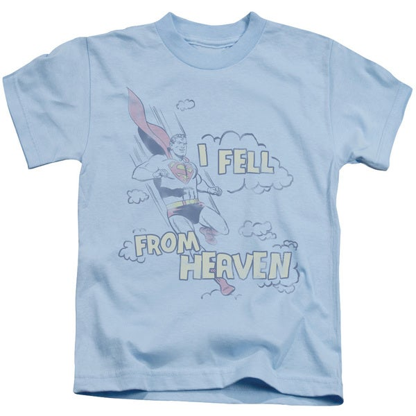 Superman/I Fell Short Sleeve Juvenile Graphic T-Shirt in Light Blue