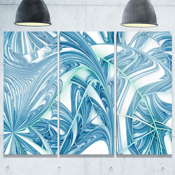 Unique Blue Fractal Design Pattern - Oversized Abstract Glossy Metal Wall Art 20556906