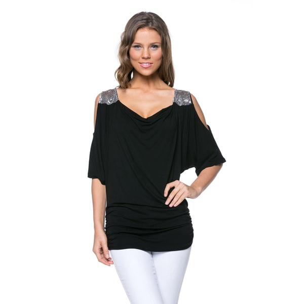 Women's Black Rayon/Spandex Embellished Cutout Top