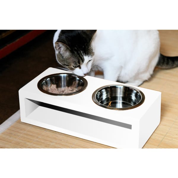 Bamboo Water-resistant Stainless Steel 2-bowl Pet Diner