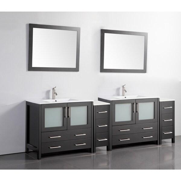 Vanity Art Ceramic Sink Top 96 Inch Double Sink Bathroom Vanity Set 1940447