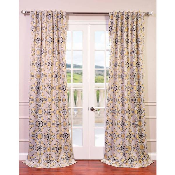 "Exclusive Fabrics Soliel Yellow/ Grey Damask Blackout Curtain Panel Pair 84""L (As Is Item)"