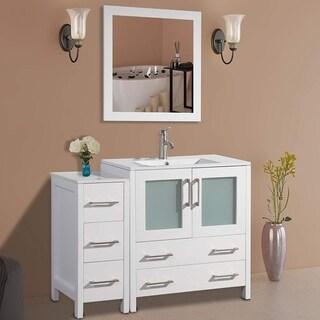 Vanity Art 42-Inch Single Sink Bathroom Vanity Set 5 Drawers, 2 Cabinets, 1 Shelf, Soft-Closing Doors with Free Mirror