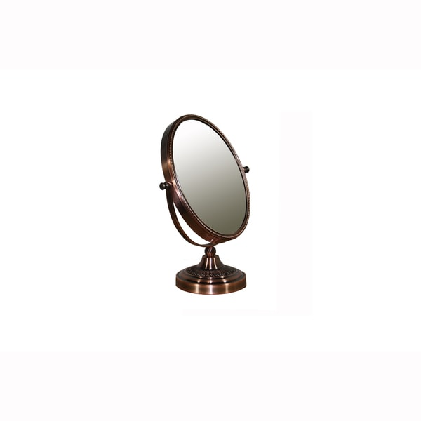Coppered Chrome 12 1/4-inch Oval Mirror with Magnification