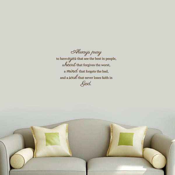 Always Pray' Black Vinyl Wall Decal