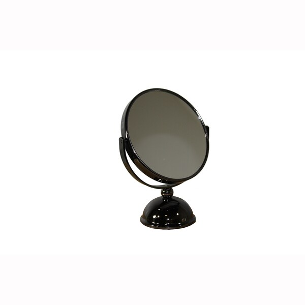 Black Chrome Finish Metal 2-sided Round Magnifying Mirror