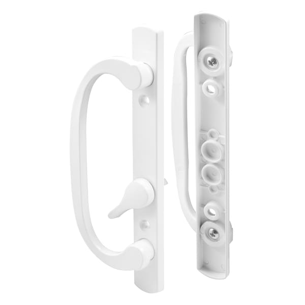 Prime Line C1280 White Offset Latch Lever Sliding Door Handle Set
