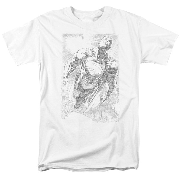 Superman/Exploding Space Sketch Short Sleeve Adult T-Shirt 18/1 in White