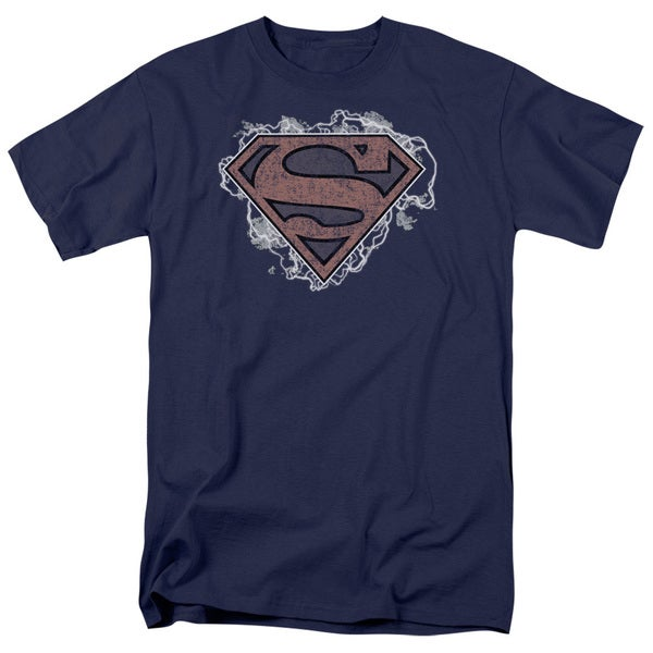 Superman/Storm Cloud Supes Short Sleeve Adult T-Shirt 18/1 in Navy