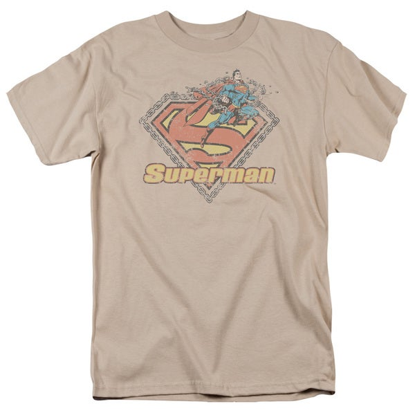Superman/Est. 1939 Short Sleeve Adult T-Shirt 18/1 in Sand