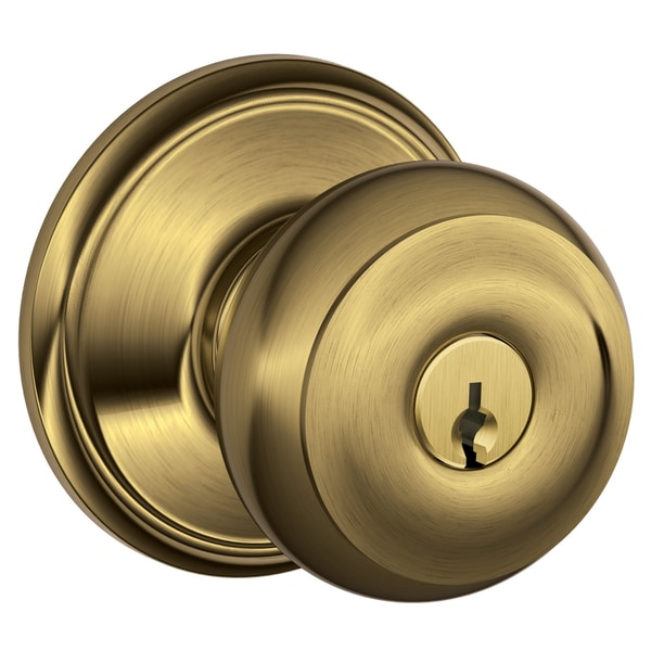 Schlage F51VGEO609 Antique Brass Georgian Keyed Entry Knob