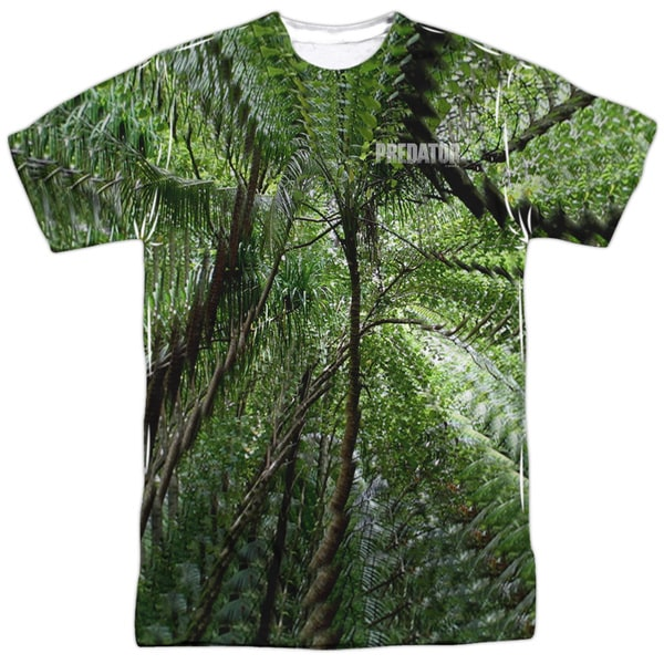 Predator/Active Camo (Front/Back Print) Short Sleeve Adult Poly Crew in White