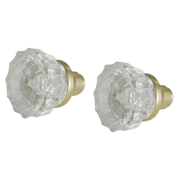 """Ultra Hardware 43000 2"""" Brass Crystal Glass Faceted Glass Knob Set"""