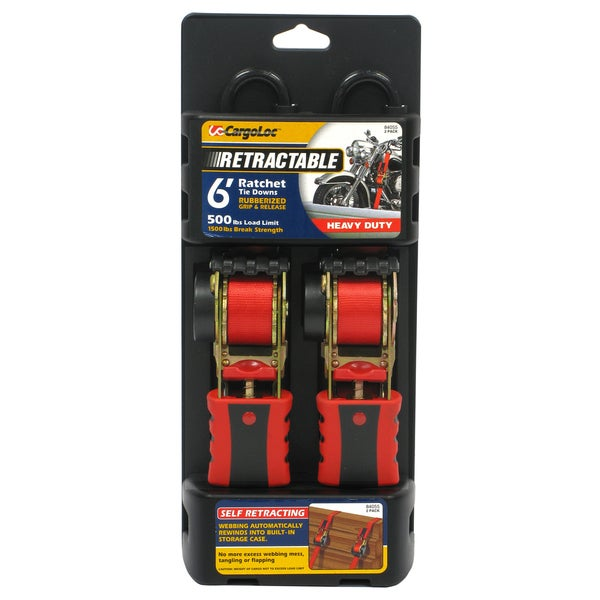 Allied International 84055 6' Red Retractable Ratchet Tie Downs 2-ct