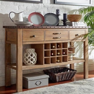 Voyager Wood and Zinc Balustrade Console Buffet Server by iNSPIRE Q Artisan