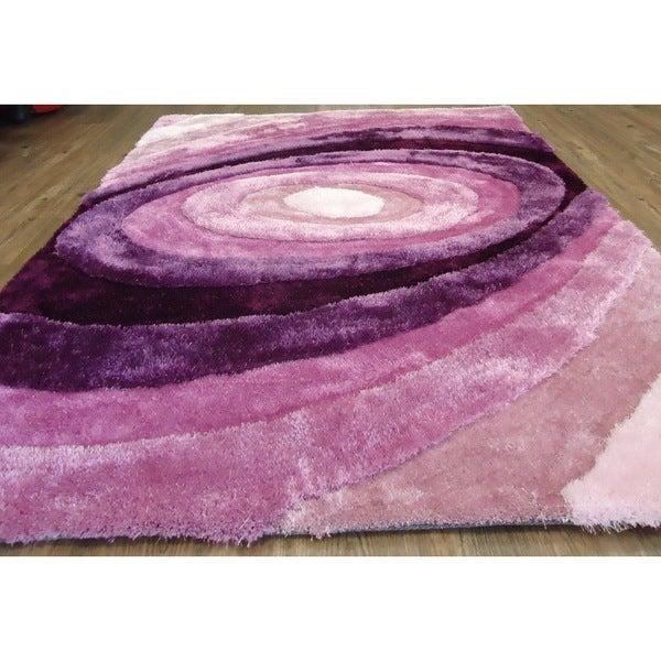 Modern Living Purple/Lavender Polyester High Pile Shag Area Rug (5'x7')