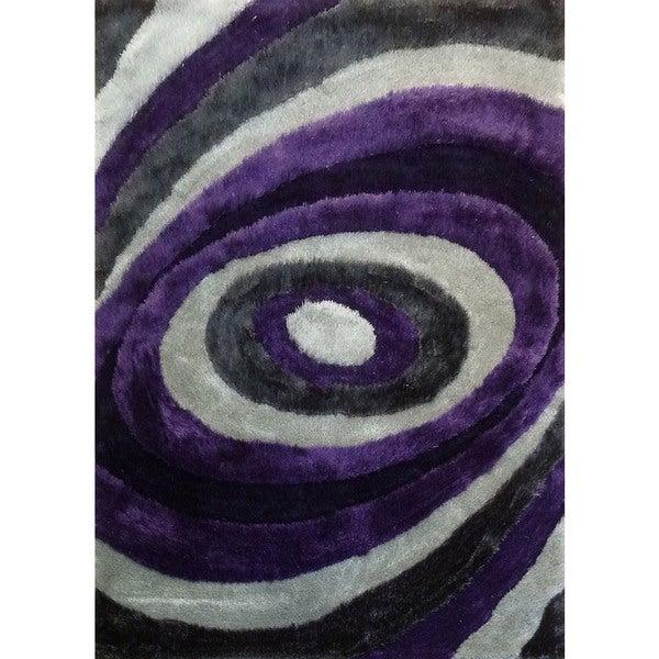 Modern Spiral Designed Purple/Silver/Gray/Black Polyester Hand-tufted Shag Area Rug (5' x 7')