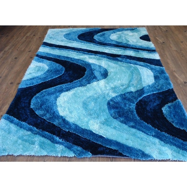 Vibrant Waves Hand-tufted Turquoise Blue and Navy Blue Shag Area Rug (5'x7')