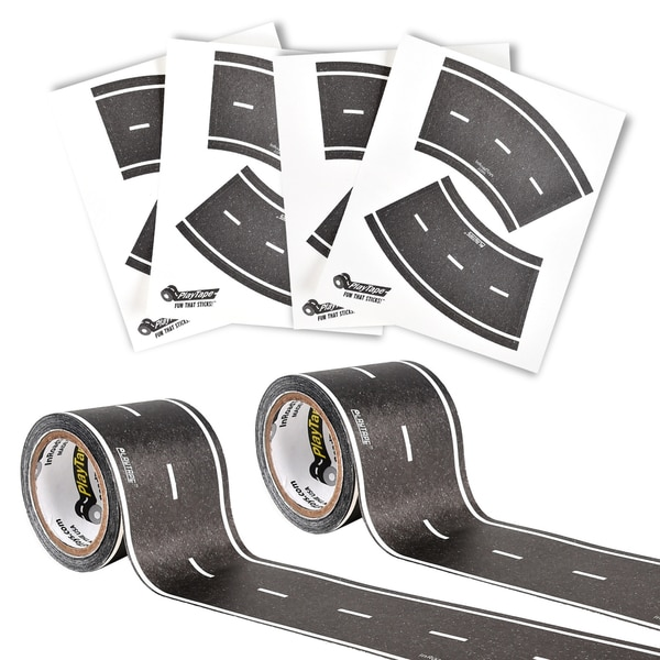PlayTape Classic Road Series Bundle 30 ft. x 2 in. Black Road 2 Pack with 8 Tight Curves and 4 Broad Curves