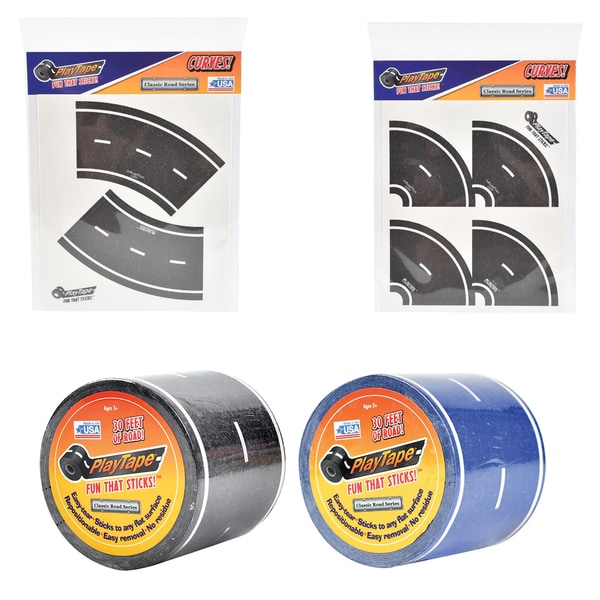 PlayTape Classic Road Series Bundle 30 ft. x 2 in. Black and Blue Road with 8 Tight Curves and 4 Broad Curves 20563366