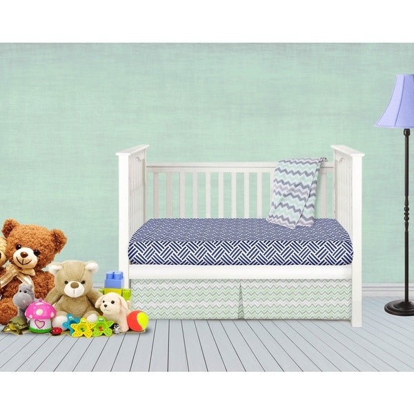 American Baby Company Grey, Green, and Navy 3-piece Baby Crib Bedding Set
