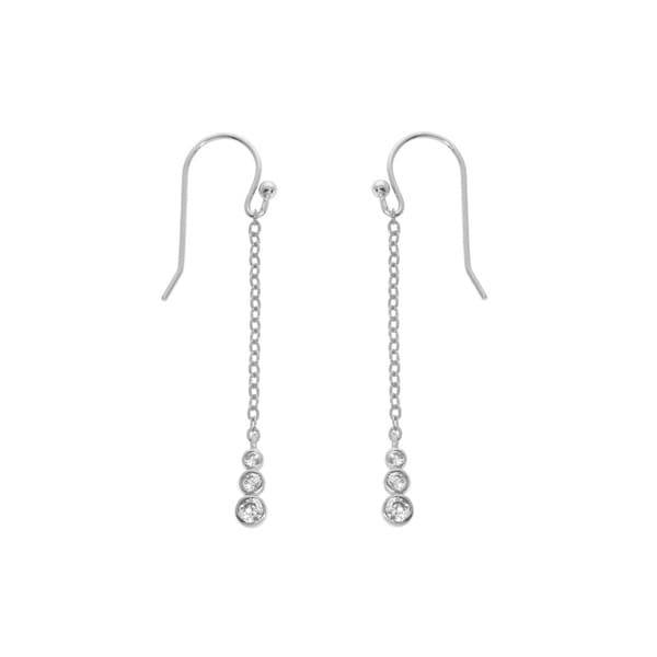 Eternally Haute Solid Sterling Silver Bezel Drop Earrings 20563474
