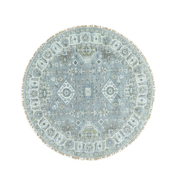 Silver-wash Hand-knotted Karajeh Round Carpet (5'10 x 5'10)