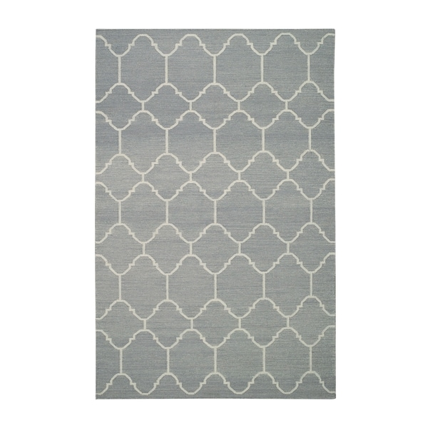 Genevieve Gorder Serpentine Grey/Off-White Flat-woven Wool Rectangular Rug (3' x 5')