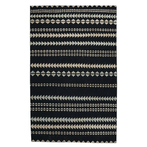 Genevieve Gorder Ebony/Beige Wool/Viscose/Cotton Scandinavian Striped Rectangular Hand-knotted Rug (3'6 x 5'6)