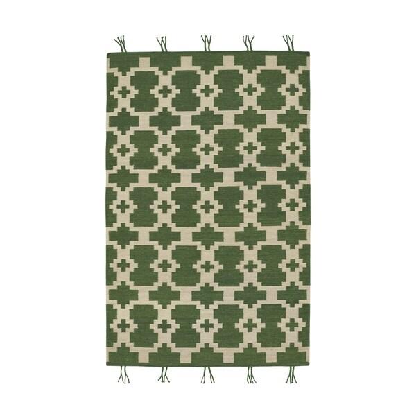 Genevieve Gorder Hyland Green Rectangular Flat-woven Rug (5' x 8')