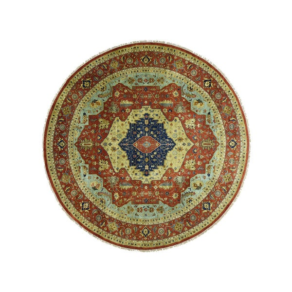 Heriz Recreation Red Wool Rounded Antiqued Hand-knotted Area Rug (11'8 x 11'8) 20564133