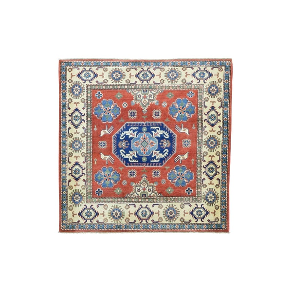 1800getarug Kazak Red/Denim Blue/Navy Blue/Light Green/Black/Grey/Ivory Wool Handmade Square Oriental Rug (5' x 5')