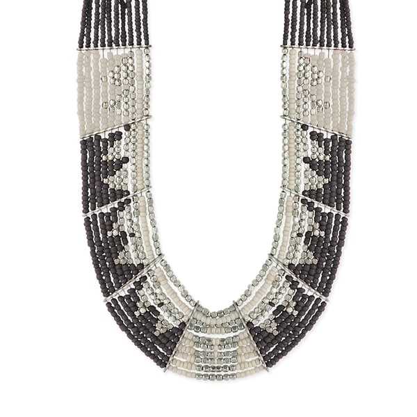 Sparkle Brazil Jewelry Silvertone Brass/Metal/Wire/Glass Multibeaded Limited-edition Bib Necklace