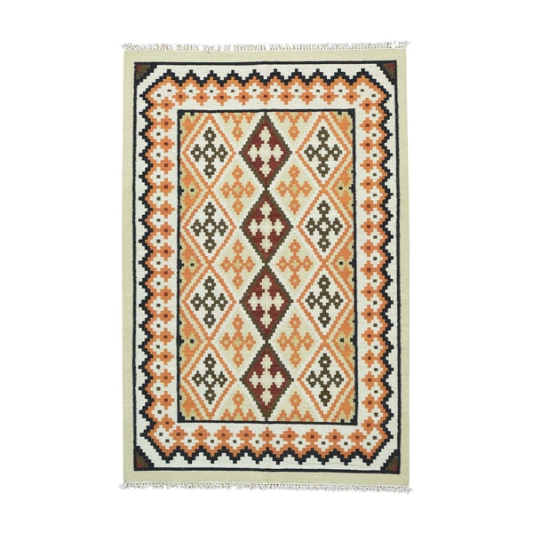 1800getarug Handwoven Anatolian Kilim Flatweave Ivory/Red/Orange/Olive Green/Black Wool Rug (5'2 x 8')
