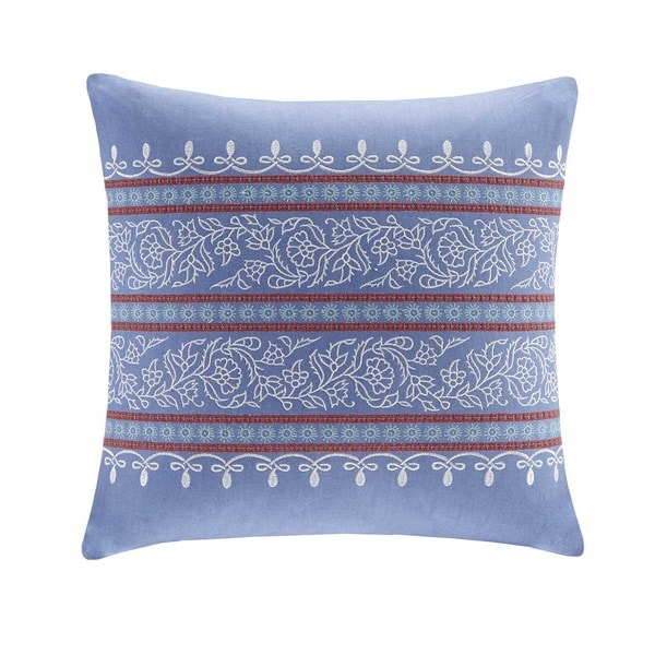 Echo Design Woodstock Blue Cotton Faux Linen Square Throw Pillow